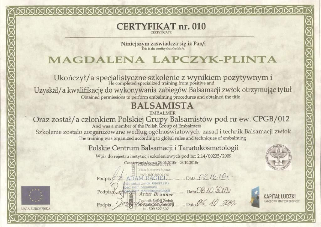 certyfikat balsamacja